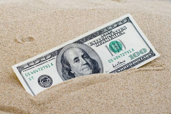 dollar in the sand
